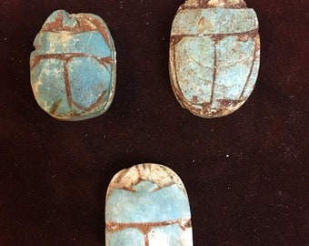 Clay scarab beads 30x22 vintage!
