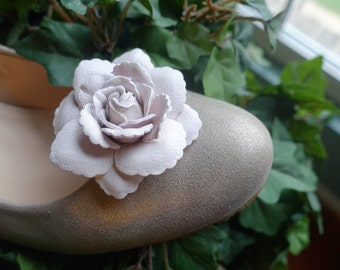 Dusty Pink Flower Shoe Clips with optional Swarovski Crystals