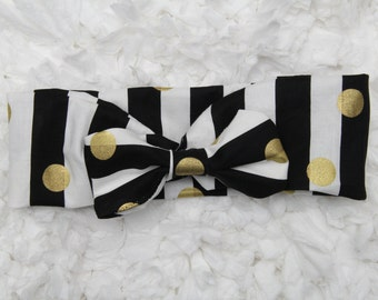Black and White with Gold Dot Headband