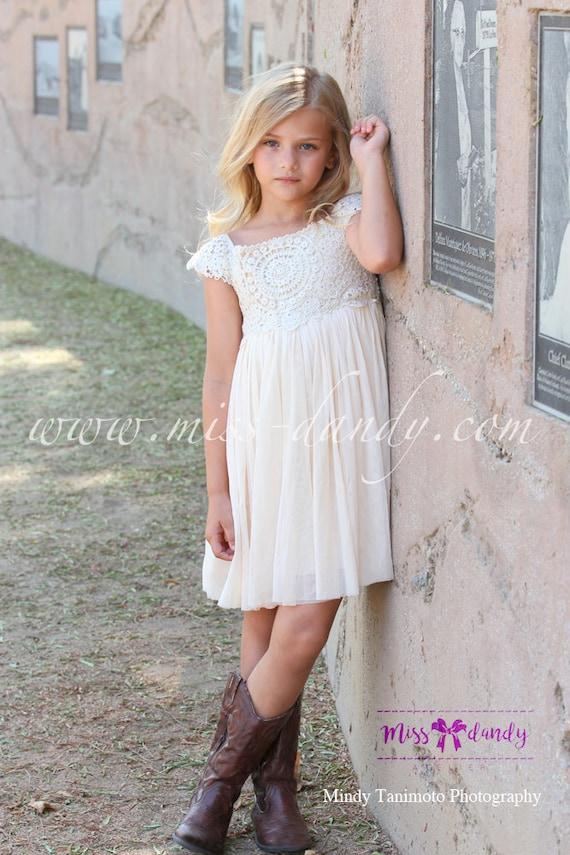 Sienna Dress- *In Stock Ready To Ship!* Beige / Cream / Champagne Crochet Bohemian Style Flower girl Dress, Romantic Flower Dress Wedding