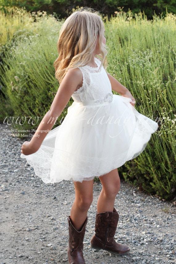 White Lace Girls Dress, Girl Lace Dress, White Lace Flower Girl Dress, Lace & Rhinestone Dress, Boho Bohemian dress, Lace flower Girl dress