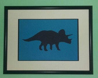 Dinosaur Silhouette - T-Rex - Tyrannosaurus Rex - Stegosaurus - Triceratops - Kids bedroom decoration - Handmade - Wall Art