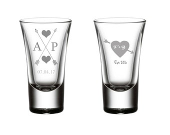Set of (120) Etched Shot Glasses, Wedding Favours, Weddings, For the Wedding Party, Celebration, Wedding Gifts