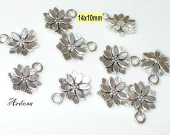10 followers flower 14mm Silver (K144. 14)