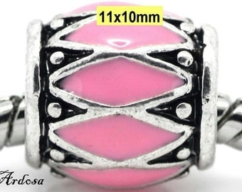 1 European large hole bead Silver Pink enamel 12x10mm (604.12)