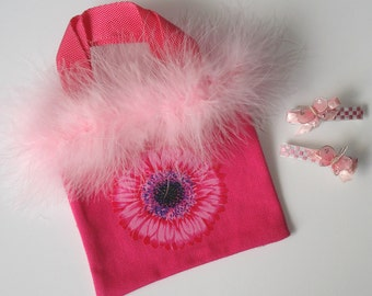 Girls Hot Pink Canvas Tote Bag Gerbera Daisy Applique Two Butterfly Barrettes Feather Boa Trim