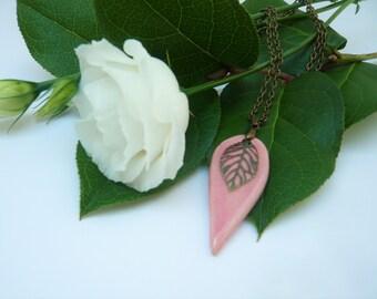 Soft pink ceramic pendant