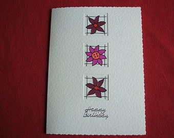 Handmade 3 flowers stained glass effect Birthday Card