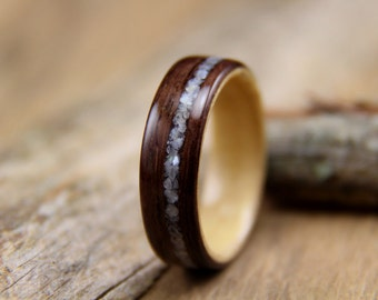 Bentwood Ring - East Indian Rosewood with Maple Liner and Offset Mother of Pearl Inlay- Handcrafted Wooden Ring