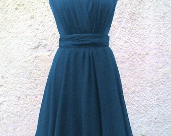 Blue petrol Infinity Dress two layers with chiffon  Convertible/Infinity Dress