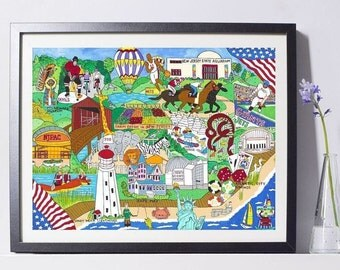 New Jersey Tourism Art Painting PSNY - Home Decor
