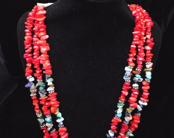 Southwest Silver and Red Coral Necklace Turquoise 3 STRAND Handmade Heavy