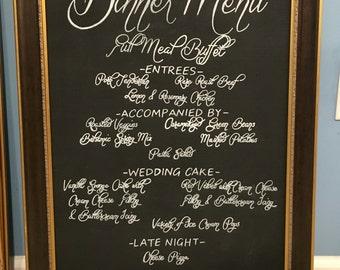 Dinner Menu Wedding Sign
