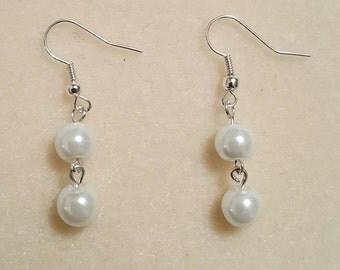 Two drop pearl earrings
