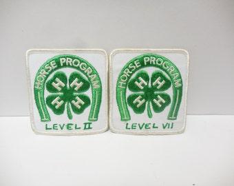 Vintage 4H 4 Leaf Clover Patch 4 H Horse Program Lot of 2
