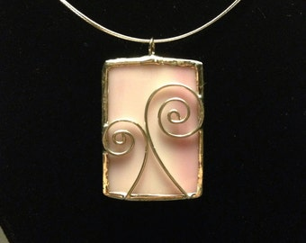 Pink stained glass necklace