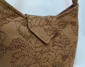 Caramel  Embroidered Crossbody Bag,  Handbag, Shoulder Bag, Everyday Purse, gift ideas for women