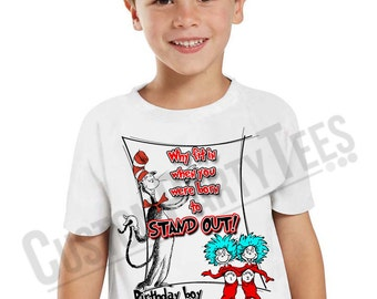 Dr Seuss Birthday T-shirt, Personalize Birthday gift favor Kids, Cat in a Hat Customized birthday shirt Dr. Seuss shirt 02