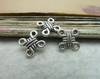 BULK 100 Chinese Knot Connector Antique Silver 2 Sided Metal Findings for Bracelet Earrings Zipper Pulls Bookmark Key chains making (YT7359)