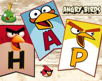 Angry Birds Banners - Angry Birds Happy Birthday Banner -Angry Birds Party - Angry Birds Download-Angry Birds Digital-Angry Birds Invitation