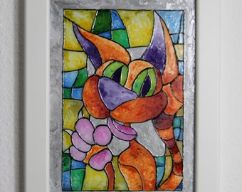 Red cat stained glass, glass art