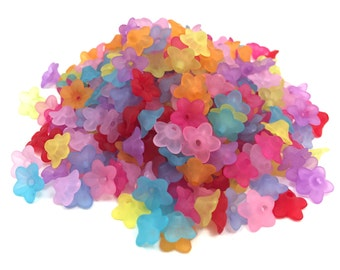 Acrylic Frosted Flower Drops/Beads - Mix Color - 10x4.5 mm