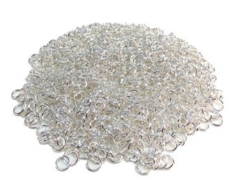 6mm Silver Plated Brass Open Round Jump Rings