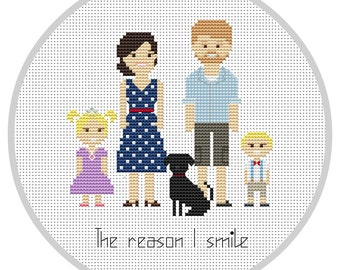 Custom family 5 characters PDF Cross Stitch Pattern Personalized portrait  Family Portrait Custom Cross Stitch Embroidery hoop X133