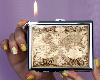Cigarette case Vintage map, Cigarette case vintage old map,Cigarette case, lighter