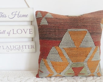 Vintage rug pillow turkish kilim pillow cover