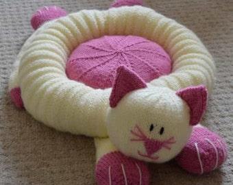 Cat Bed Knitting Pattern, Pet Bed Knitting Pattern, Cat Knitting Pattern, Novelty Pet Bed Knitting Pattern