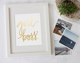 Girl Boss Gold Foil Quote Digital Download Print