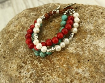 Red coral turquoise bead potato pearls beaded bracelet, coral bracelet, pearl bracelet, turquoise bracelet, charm bracelet, S 201