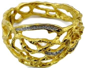 "Vintage Elizabeth Taylor Avon ""Treasured Vine"" Gold Cuff Bracelet, Book Piece, Designer signed"