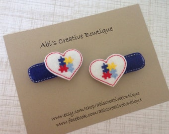 Autism awareness hair clips embroidered felt clips pigtails toddler girl