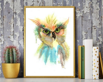Owl watercolor, Owl Painting, Bird print, Owl print, Great horned painting, Wildlife painting ,Birds painting, Watercolor bird, Owl art, Owl