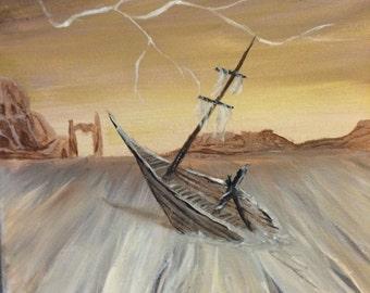 Desert ship wreck painting