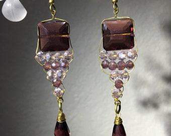 Handmade Purple Crystal dangle Earring