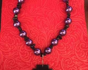 Purple pearl beaded fashion necklace