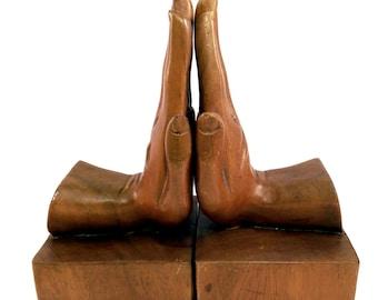 Hand Carved Wooden Bookends Hands Vintage