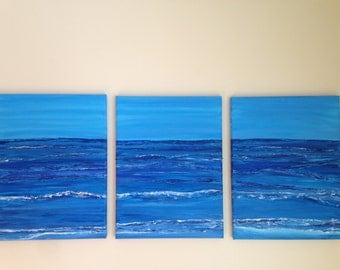 "SOLD   Rolling Blue, (3) 12"" x 16"" contemporary wave paintings, impressionism, modern art, nautical, seascape"
