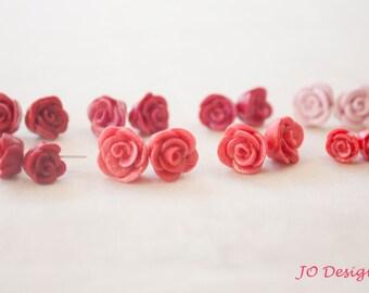 Rose Earrings, Roses, Stud Earrings, Sterling Silver Jewelry
