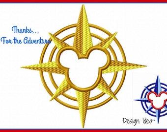 Disney Cruise Line Mickey Compass Digital Applique Embroidery Machine Design File 4x4 5x7 6x10