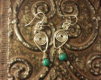 Sterling silver and turquoise spiral earrings, handmade