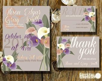 Calla Lilly Bouquet Wedding Invitation Suite Printable
