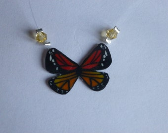 Necklace medium butterflies red/orange