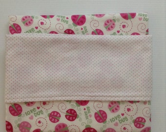 Baby blanket-reversible cotton/flannel, ladybug print