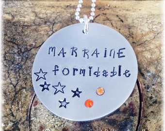 Hand Stamped Personalised French Marraine Formidable Message Pendant Godmother