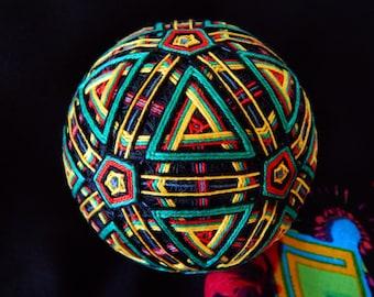 """Temari Ball """"Jamaica"""" Japanese Psychedelic Art Handmade Home Decor Gift"""