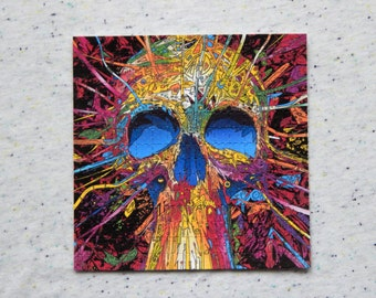 """Blotter Art """"Skull"""" Perforated Print Paper Psychedelic Collection Acid Free"""